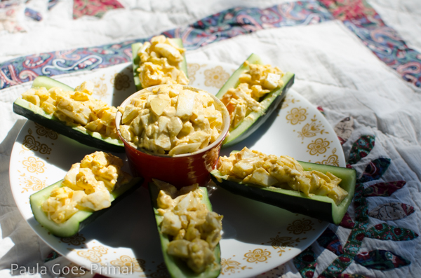 Curried Whole30 Egg Salad in Cucumber Boats